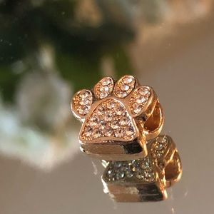 Jewelry - Dog or cat paw charm gold bling works W/Pandora